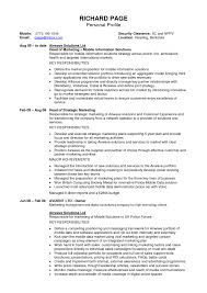 Example Of Personal Statement For Resume Cover Letter Sample Profiles For Resumes Sample Profile Statements