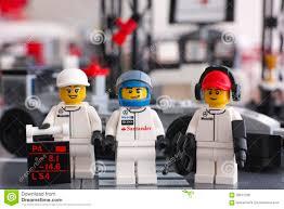 lego speed champions mercedes lego mclaren mercedes team crew members editorial stock photo