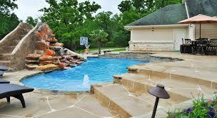 Backyard Pool With Slide - bryan college station custom pool design photos brazos valley