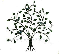 wrought iron art home decor wall metal tree and bird handicraft
