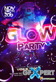 free party flyer template psd neon glow download