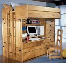 Wooden Loft Bunk Beds Wood Bunk Bed With Desk Underneath Foter