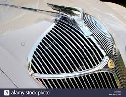 the grill emblem and ornament of a 1935 chrysler stock photo