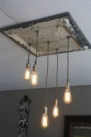 farmhouse edison bulb light fixture antique tin tile chandelier vintage