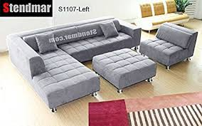 Microfiber Sectional Couch With Chaise Amazon Com 4pc Modern Grey Microfiber Sectional Sofa Chaise Chair