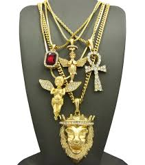 gold big chain necklace images 14k gold plated 5 chain combo big king leo ankh angel datnewice jpg