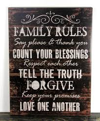 primitive black wood sign family rules inspirational rustic home