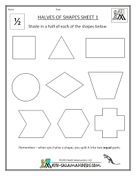 Free Printable Shapes Worksheets Worksheets Beginning Fractions Halves Fourths Classroom Math
