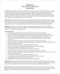Lifeguard Resume Job Description by Sample Camp Counselor Job Description 9 Examples In Pdf
