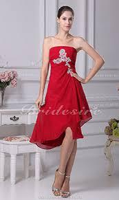 a linie herzausschnitt knielang chiffon brautjungfernkleid mit gestupft p551 bridesire rot brautjungfernkleider rot