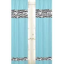 Zebra Curtain Panels Turquoise Blue Zebra Print Window Curtains Drapes Set Of 2 Panels