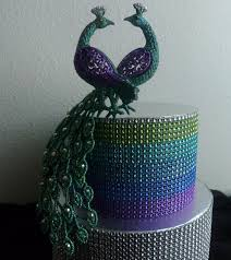 peacock wedding cake topper rhinestone peacock cake topper purple turquoise teal blue silver