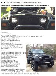 jeep wrangler models list amazon com whdz 7 inch 75w round philips led headlight with drl h