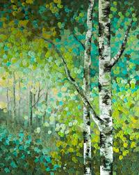 seeds original acrylic aspen birch tree acrylic painting