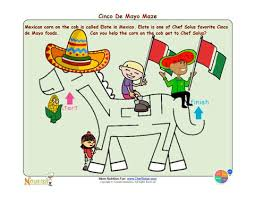 holiday 6 cinco de mayo cute burro maze with healthy message for