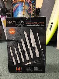 High Carbon Steel Kitchen Knives by Amazon Com Hampton Forge High Carbon Steel 14 Piece Cutlery Set