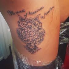 my thigh owl quote tattoos piercings