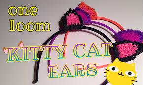 rainbow loom kitty cat ears hair head band halloween costume one