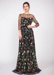 colorful dress black tulle floor length dress with colorful floral embroidery