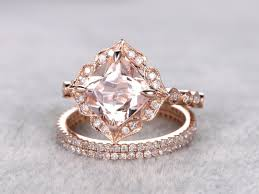 3pc morganite bridal set art deco engagement ring 8mm cushion cut