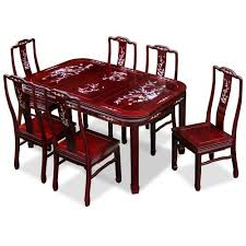 Rosewood Dining Room Set 60in Rosewood Dining Table With 6 Chairs Of Pearl Inlay