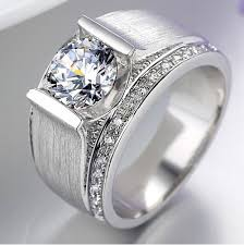 men promise rings wholesale luxury ring 1ct simulate diamond wedding ring for