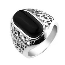 male rings images Hollow carving black agate sterling silver male rings boyfriend jpg