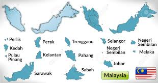 Map Of Malaysia Map Of Malaysia With Borders In Blue Royalty Free Cliparts