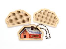 cross stitch blank wood pendant small house kids craft kit