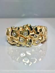 men vintage rings images Vintage 14k solid gold men 39 s diamond nugget rings men etsy jpg