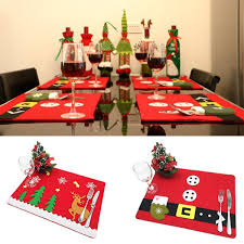 christmas day dinner table games christmas tableware mat pad dish bowl fork placemat xmas dinner