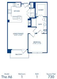 1 2 bedroom apartments in dallas tx camden victory park blueprint of a6 floor plan 1 bedroom and 1 bathroom at camden victory park apartments
