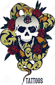 skull with snake and five roses royalty free cliparts