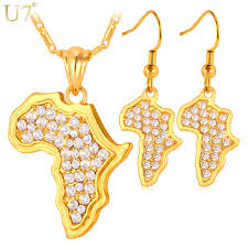 african necklace earrings images U7 africa map pendant necklace and earrings set sale trendy yellow jpg