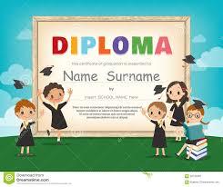 kids diploma certificate design template stock vector