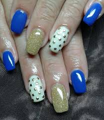 gold and blue nail designs blue and gold brokade nail art blue