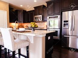 Dark Kitchen Floors by Modern Kitchen With Dark Wood Cabinets And Hardwood Floors Stock