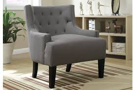 Upholstered Accent Chair Poundex F1413 Living Room Accent Chair With Grey Polyfiber Upholstery