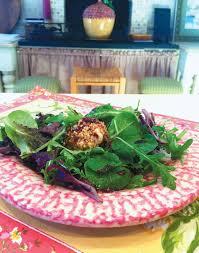warm goat cheese salad with beach plum balsamic glaze edible