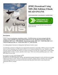pdf download using mis 8th edition ebook read online by high