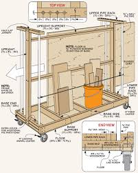 Wood Storage Rack Woodworking Plans by Sheet Goods Cart Example Drawing For The Workshop Material