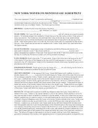 Rent Per Month by Free New York Month To Month Rental Agreement Template Pdf