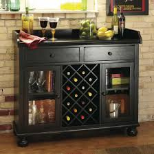 Black Bar Cabinet Black Wine Bar Console Stemware Glasses Spirits Storage 695002