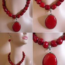 red necklace earring set images Buy red coral necklace earring set oval large silver set online jpg