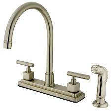 biscuit 4 hole kitchen faucet wide spread two handle pull down