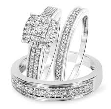 trio wedding sets 5 8 carat t w cut diamond trio wedding set 14k white gold