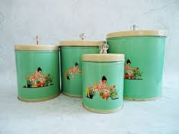 kitchen storage canister vintage jadite green tin kitchen canister set 1940s kitchen
