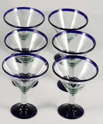 mexican martini margarita glasses cobalt blue rim base glass set 6