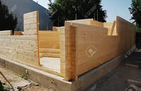 Building A Concrete Block House A Partially Constructed Wood Fir Prefabricated Block House Stock