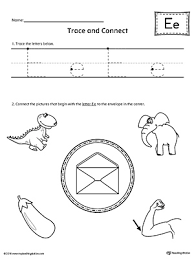 trace letter e and connect pictures worksheet myteachingstation com